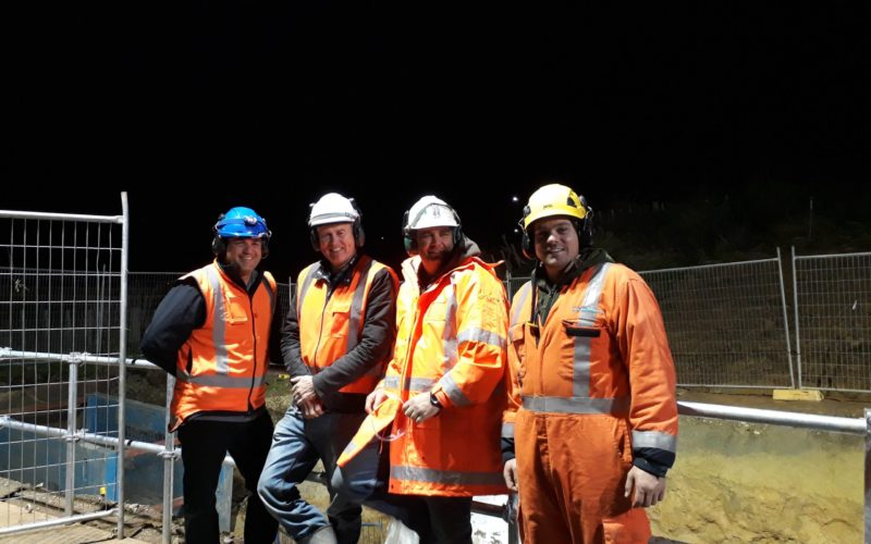 Night shift with the Concrete Treatment crew NIMT Pipe Ramming